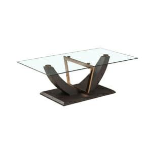 Стилна холна маса от дърво и метал със стъклен плот
