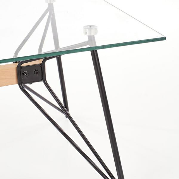 Стъклена холна маса с раздвижена конструкция-крак