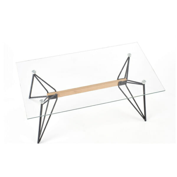 Стъклена холна маса с раздвижена конструкция-отгоре