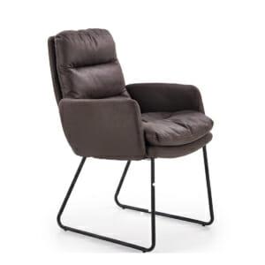Трапезен стол в тъмнокафяво с подлакътници