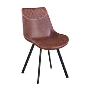 Трапезен стол от еко кожа и метал-кафяв
