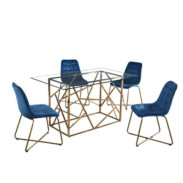 Трапезна маса със стъклен плот и елегантна основа
