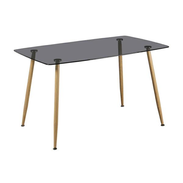 Трапезна маса с опушен стъклен плот и метални крака