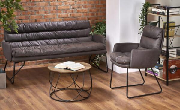 Триместен диван от еко кожа в индустриален стил