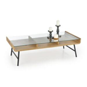 Холна маса от дърво и стъкло с два плота