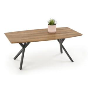 Холна маса с плот от дърво в цвят орех