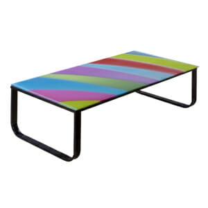 Цветна холна маса със стъклен плот