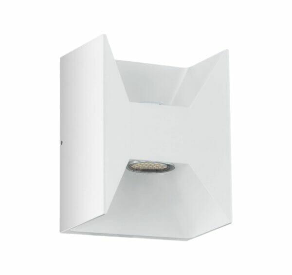 Бял фасаден LED аплик с вертикално осветяване в две посоки