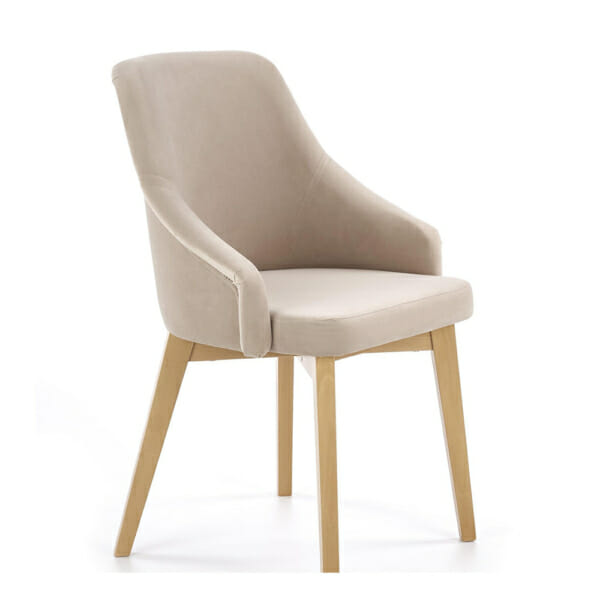 Елегантен стол с плюшена дамаска и дървени крака - бежов
