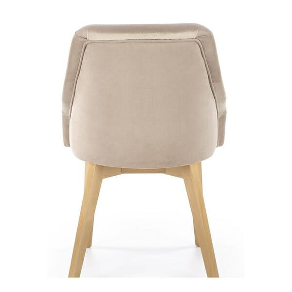 Елегантен стол с плюшена дамаска и дървени крака - отзад