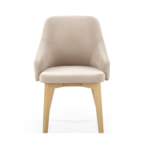 Елегантен стол с плюшена дамаска и дървени крака - отпред
