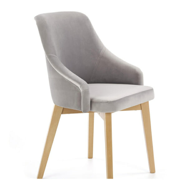 Елегантен стол с плюшена дамаска и дървени крака - светлосив