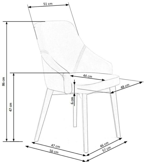 Елегантен стол с плюшена дамаска и дървени крака - схема