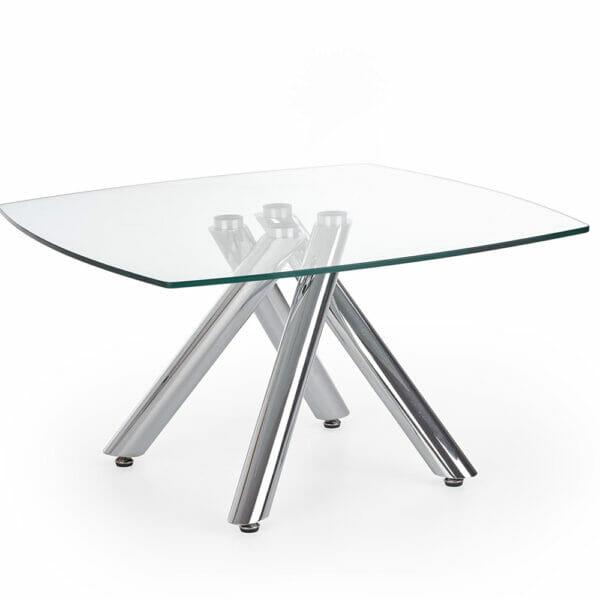 Елегантна холна маса с нестандартна основа и стъклен плот - отпред