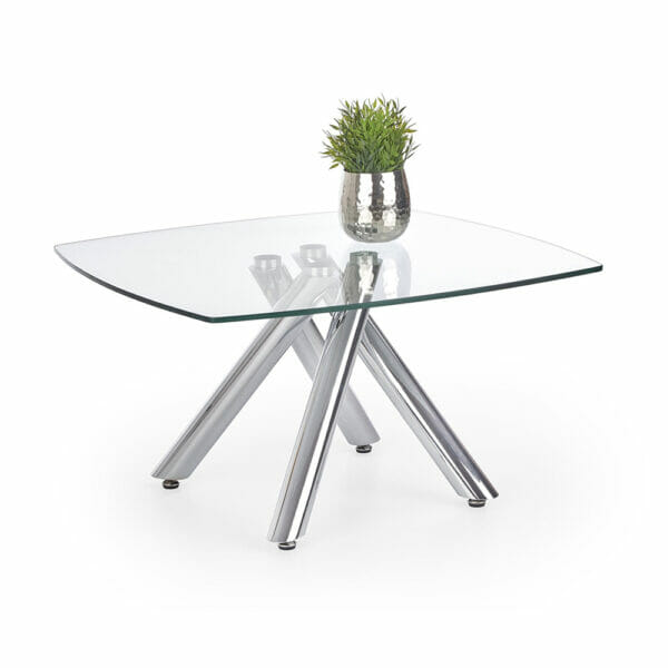 Елегантна холна маса с нестандартна основа и стъклен плот