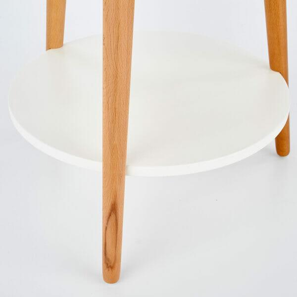 Кръгла помощна маса от дърво с два плота в бяло - детайл