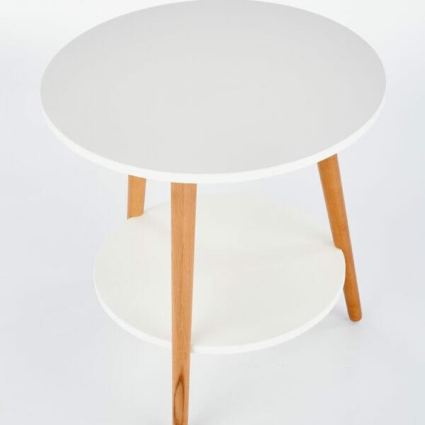 Кръгла помощна маса от дърво с два плота в бяло - отгоре