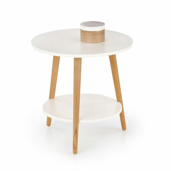 Кръгла помощна маса от дърво с два плота в бяло