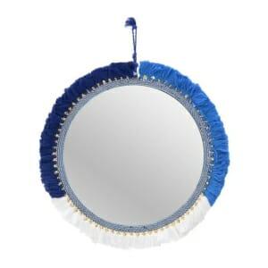 Кръгло стенно огледало с текстилна рамка