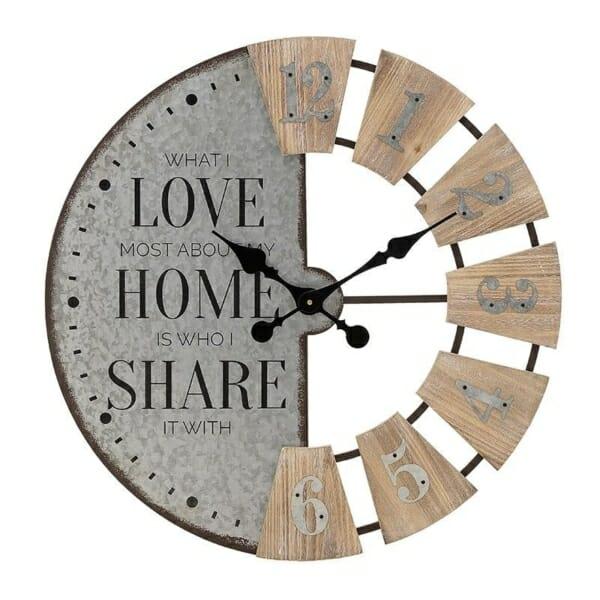 Кръгъл стенен часовник от дърво и метал