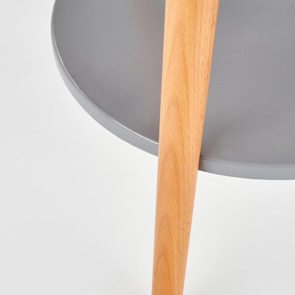 Масичка за кафе от дърво с два кръгли плота в сиво - крак и плот отблизо