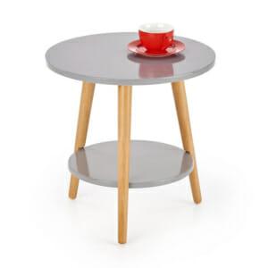 Масичка за кафе от дърво с два кръгли плота в сиво