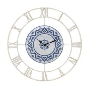 Метален стенен часовник в бяло и синьо