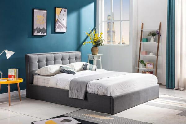 Модерно легло тапицирано в сив цвят
