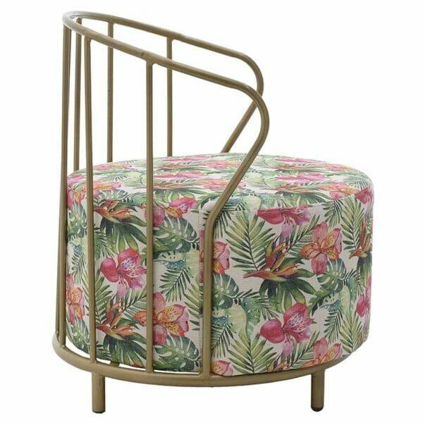 Овално кресло в цвят злато с висока пуф седалка и тропически мотиви-снимка отстрани
