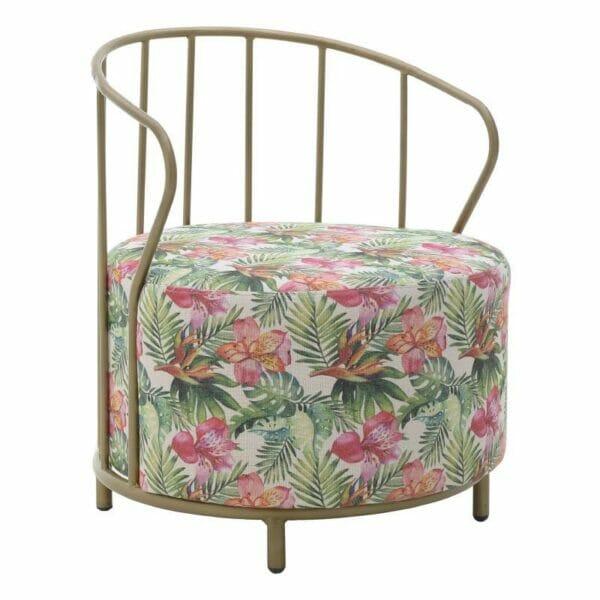 Овално кресло в цвят злато с пуф седалка с тропически мотиви