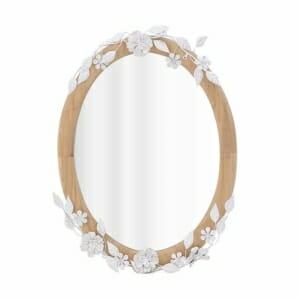Овално огледало за стена в рамка от дърво и метал