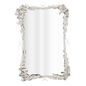Огледало за стена с метална рамка от цветя