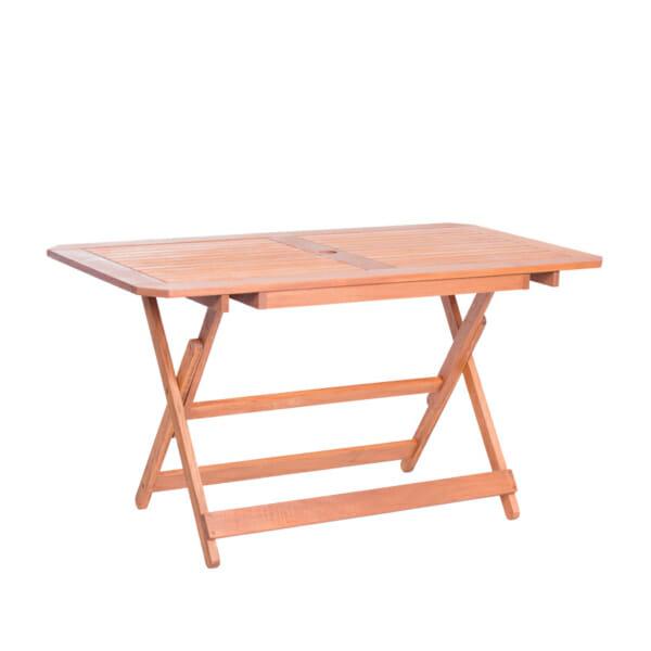 Правоъгълна дървена маса за градина - странична снимка