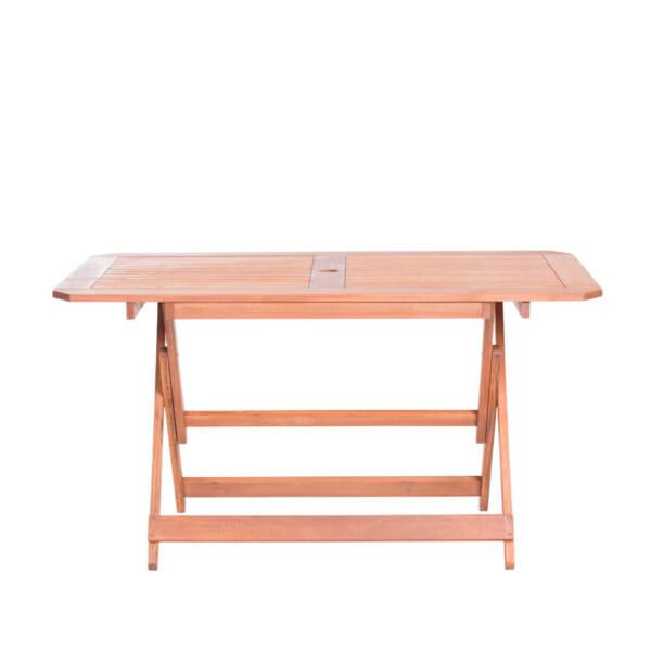 Правоъгълна дървена маса за градина - отпред