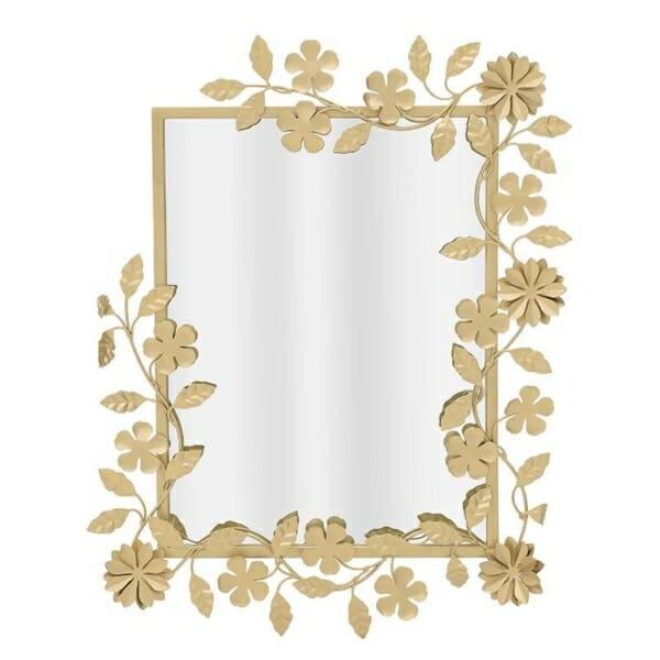 Правоъгълно стенно огледало в рамка от златни цветя
