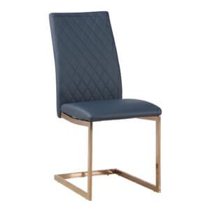 Син стол от еко кожа със златисти крака
