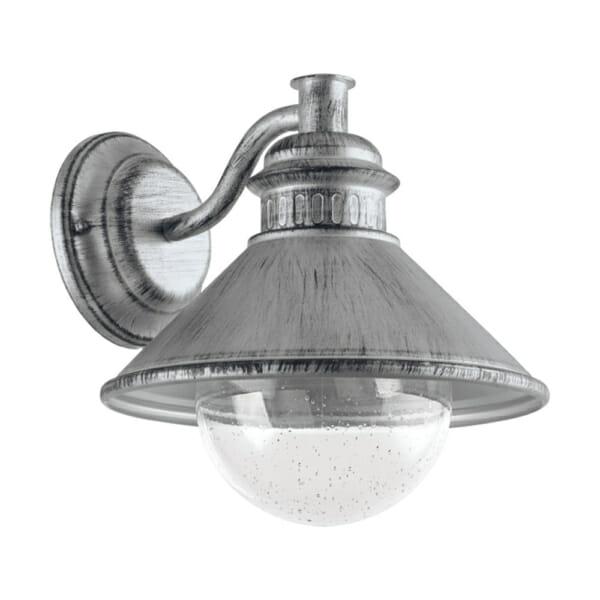 Сребрист метален аплик за фасадно осветление Eglo серия Albacete