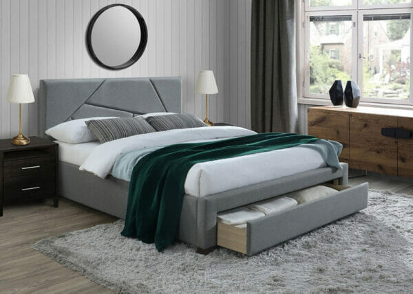 Тапицирано легло в сив цвят с функционално чекмедже