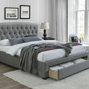 Тапицирано легло в сив цвят с чекмедже