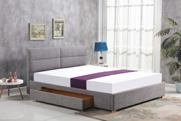 Тапицирано легло с две чекмеджета в светлосив