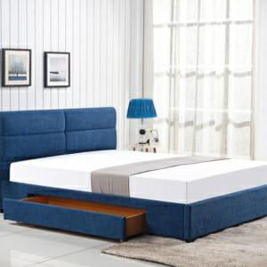 Тапицирано легло с две чекмеджета в синьо
