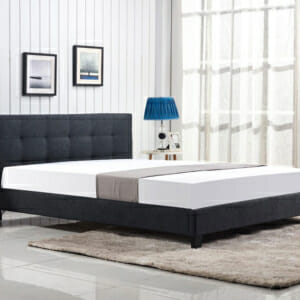 Тъмносиво тапицирано легло в модерен стил на крачета