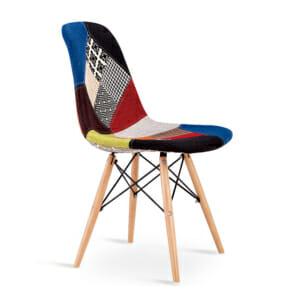 Шарен пачуърк стол с дървени крака