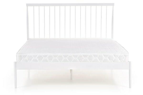 Бяло метално легло с висока табла