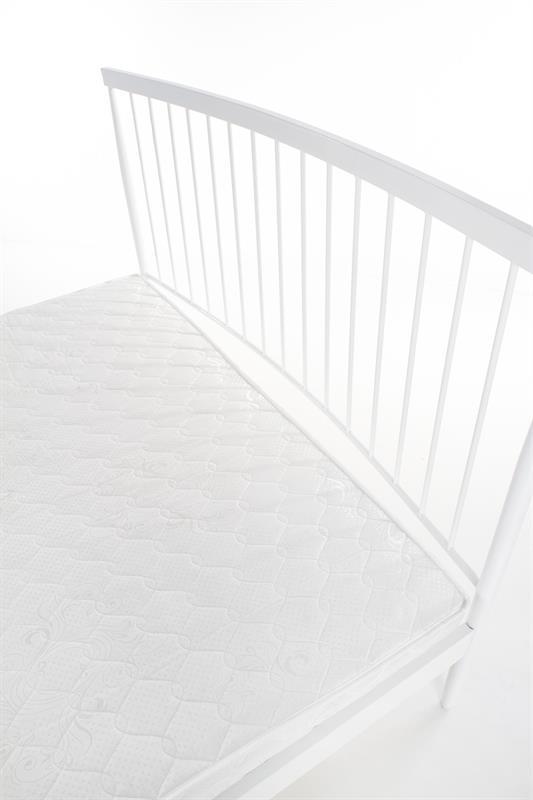 Бяло метално легло с извита табла