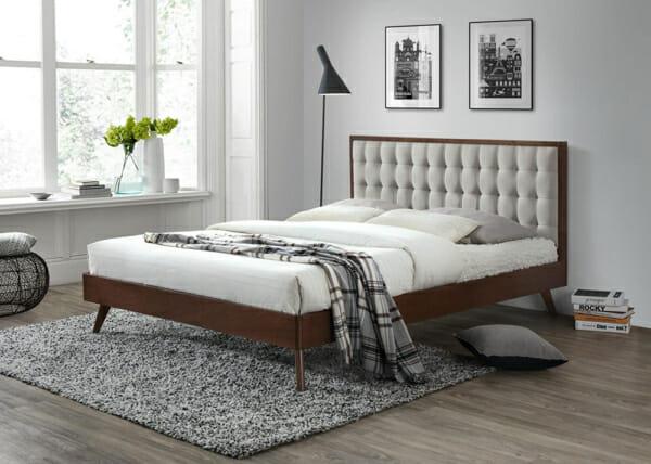 Дървено легло с текстилна табла