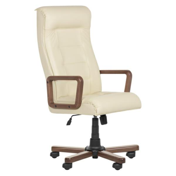 Класически президентски стол с висока облегалка - крем