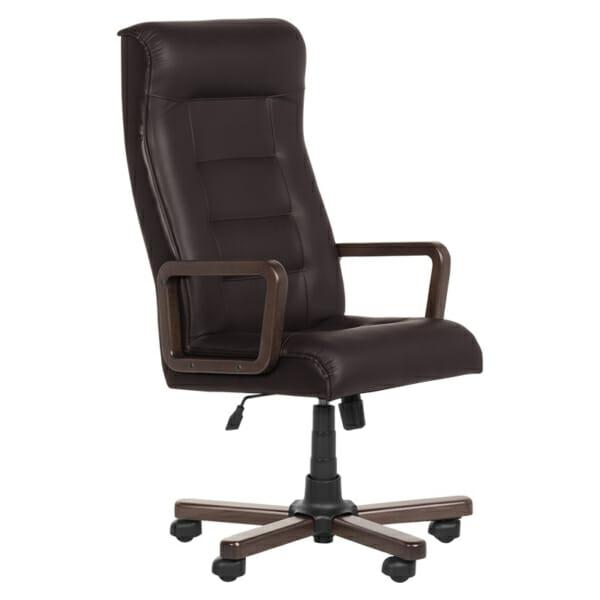 Класически президентски офис стол с висока облегалка -тъмно кафяв цвят