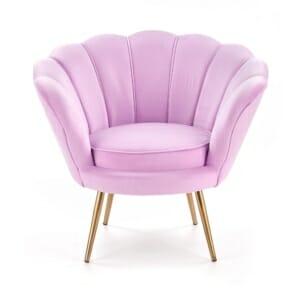 Луксозно кресло с подлакътници във формата на мида - розово