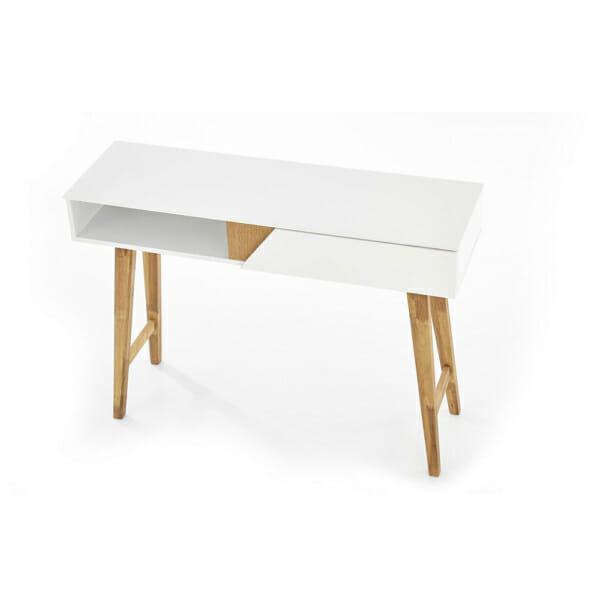 Бяла конзола маса с дървени бежови крака в скандинавски стил -отгоре